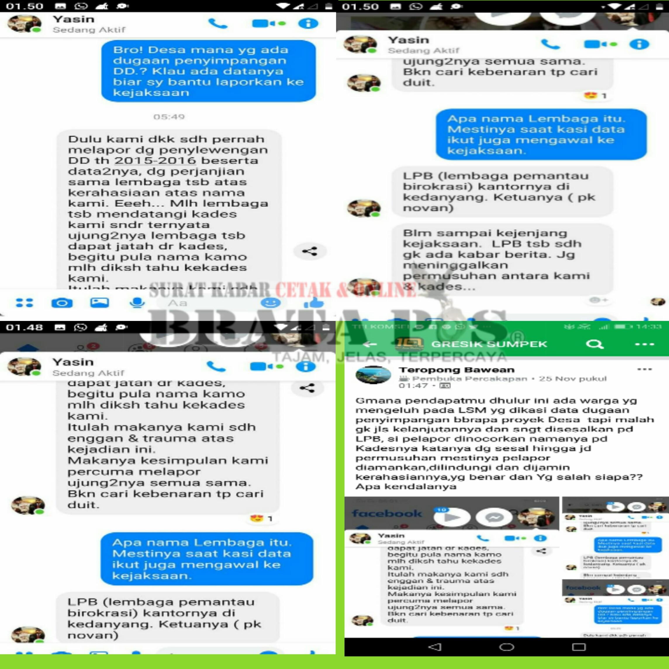 Keterangan foto : bukti percakapan yang beredar di dunia maya facebook.